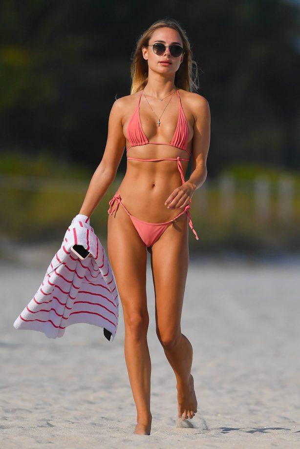 Kimberley Garner - In a coral bikini on Miami Beach
