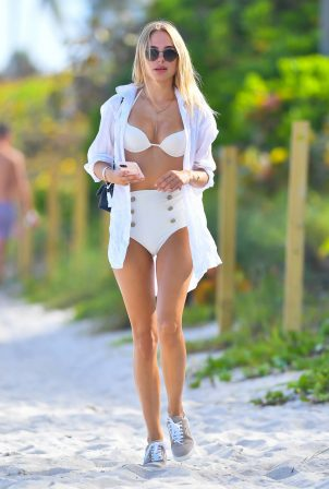 Kimberley Garner - In a white bikini at Soho House in Miami Beach
