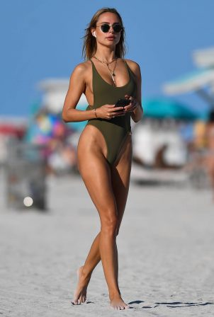 Kimberley Garner - In an olive green swimsuit in Miami Beach