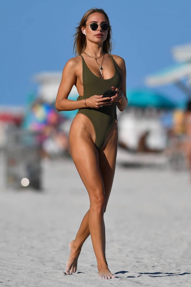 Kimberley Garner - In an olive green swimsuit in Miami Beach