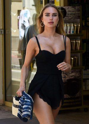 Kimberley Garner in Black Playsuit - Shopping in St Tropez