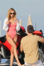 Kimberley Garner in Pink Swimsuit on Photoshoot in Miami
