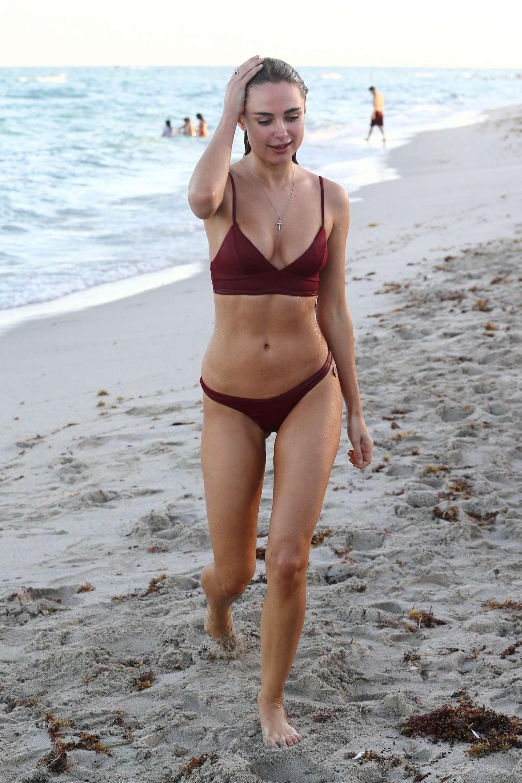 Kimberley Garner in Red Bikini on the beach in Miami