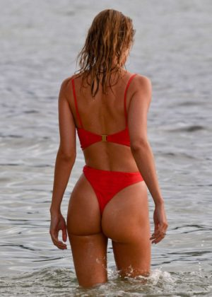 Kimberley Garner in Red Bikini Paddleboarding in Caribbean Pic 8 of 35
