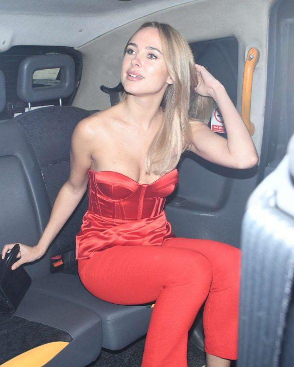 Kimberley Garner in Red - Leaving the Savoy Hotel in London