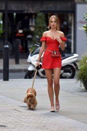 Kimberley Garner in Red Mini Dress - Walking Her Dog in London