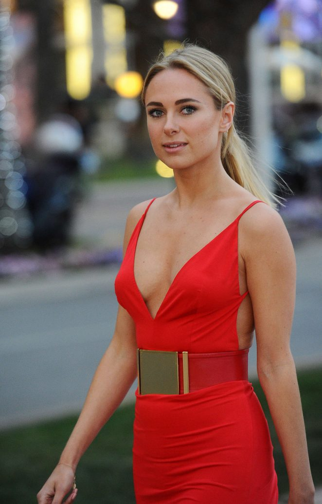 Kimberley Garner in Red out at Plage Royale in Cannes