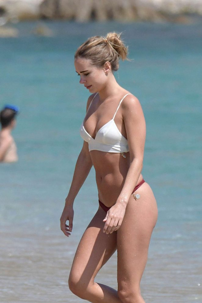 Kimberley Garner in White and Red Bikini at Elia beach in Greece