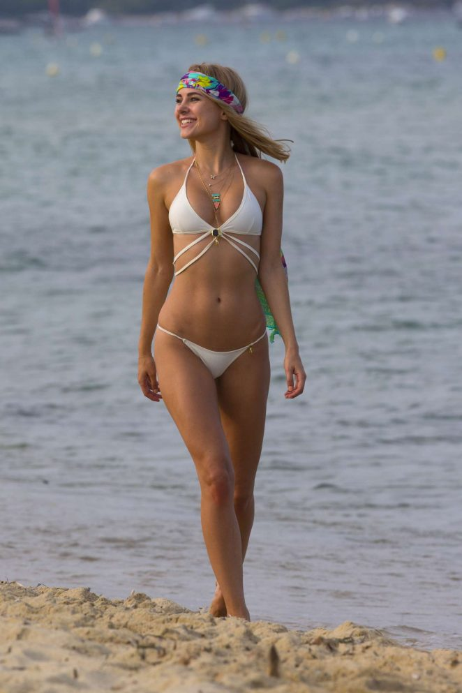 Kimberley Garner in White Bikini on a Beach in St Tropez