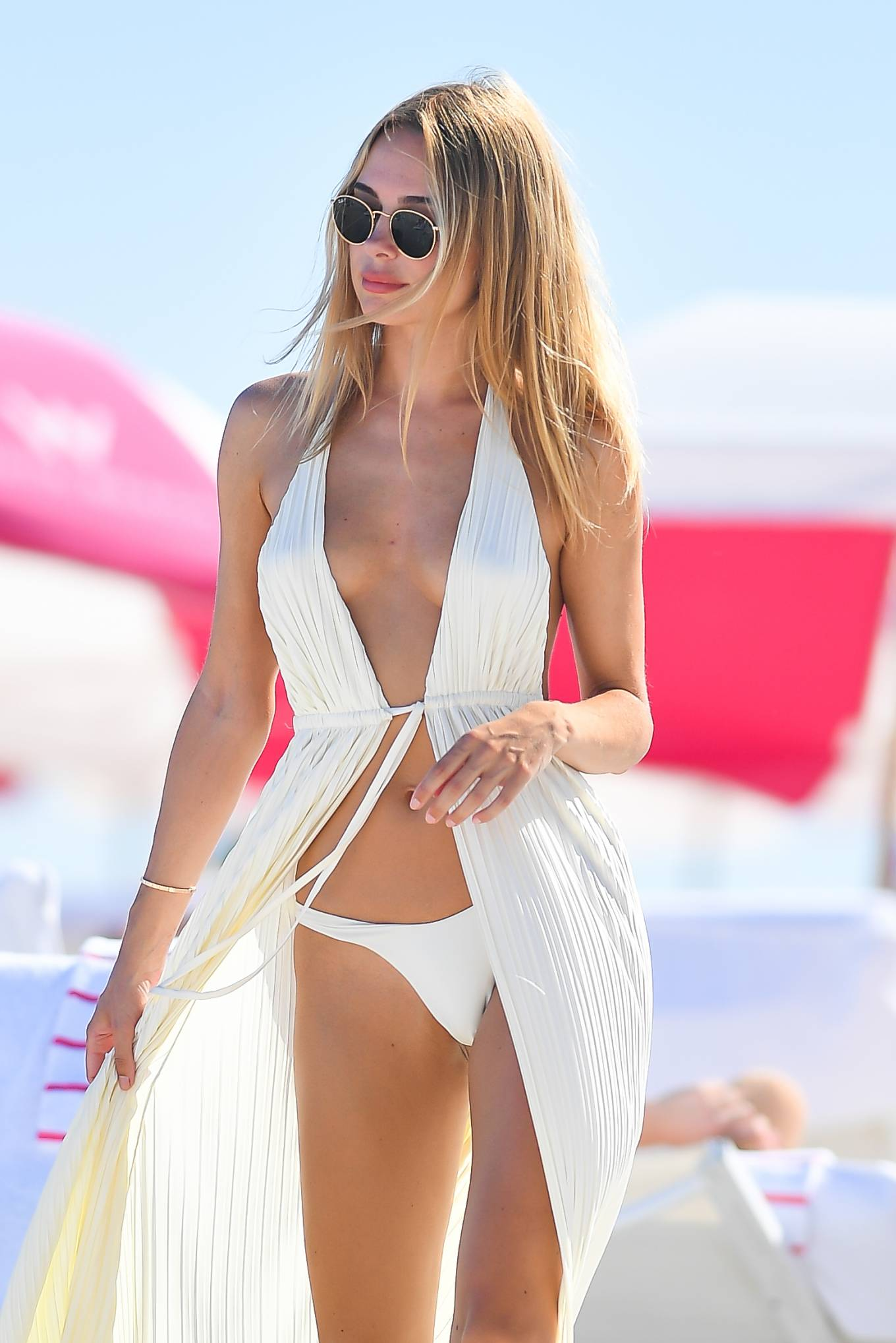 Kimberley Garner - In white bikini on beach in Miami