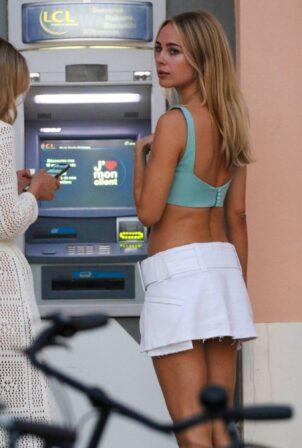 Kimberley Garner - In white mini skirt seen in Saint Tropez