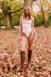 Kimberley Garner in White Swimsuit - Walking her dog in London