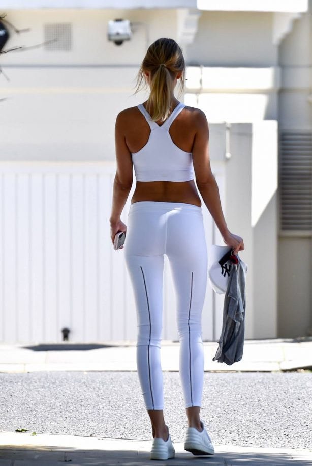 Kimberley Garner in White Tights - Out in London