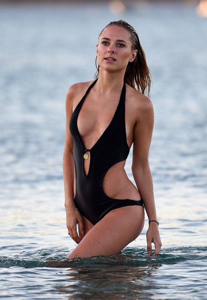 Kimberley Garner in Black Bikini in St. Tropez