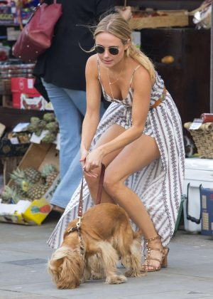 Kimberley Garner with her dog in Chelsea