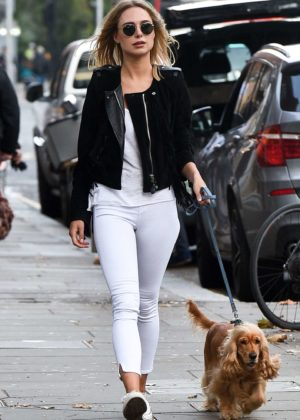 Kimberley Garner with her dog out in Chelsea