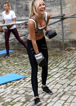 Kimberley Garner working out in Somerset