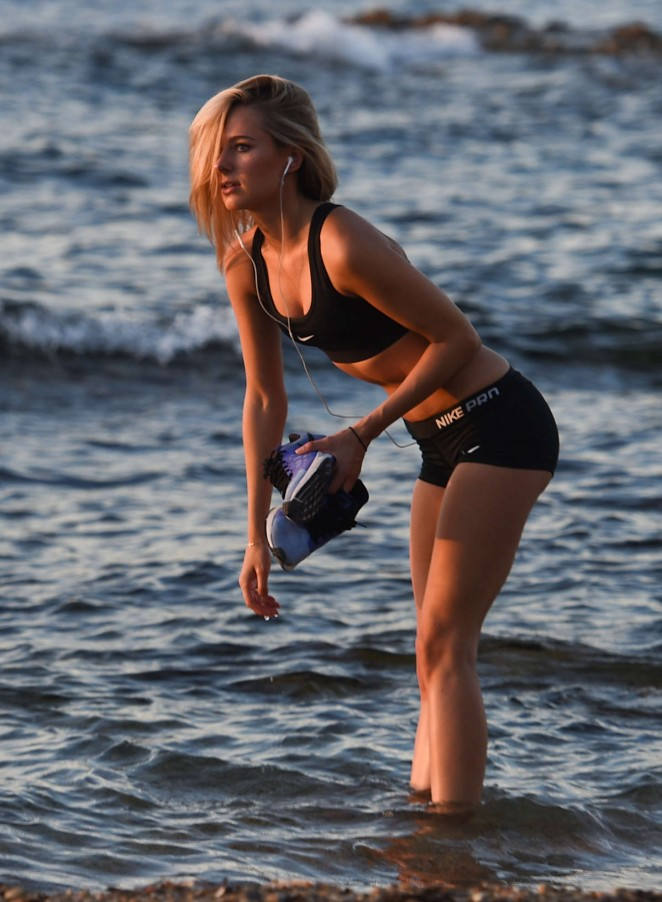 Kimberley Garner in Sports Bra and Shorts Workout in St. Tropez