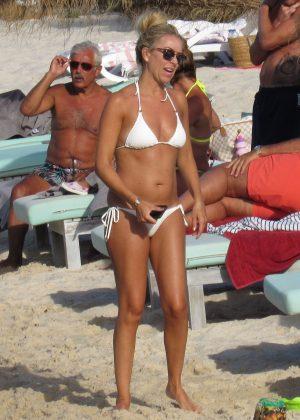Kimberly Crew in White Bikini on the beach in Portugal