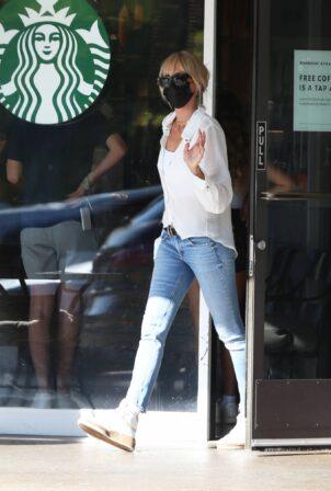 Kimberly Stewart - In denim at a local Starbucks in Bel-Air
