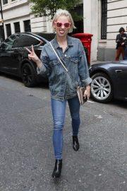 Kimberly Wyatt in Denim Outfit in Mayfair