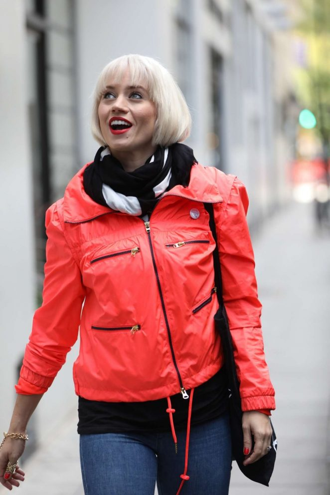 Kimberly Wyatt in Red Jacket - Out in London