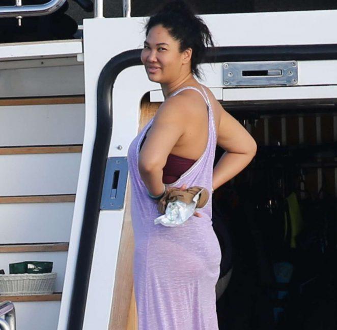Kimora Lee at a yacht in St Barth