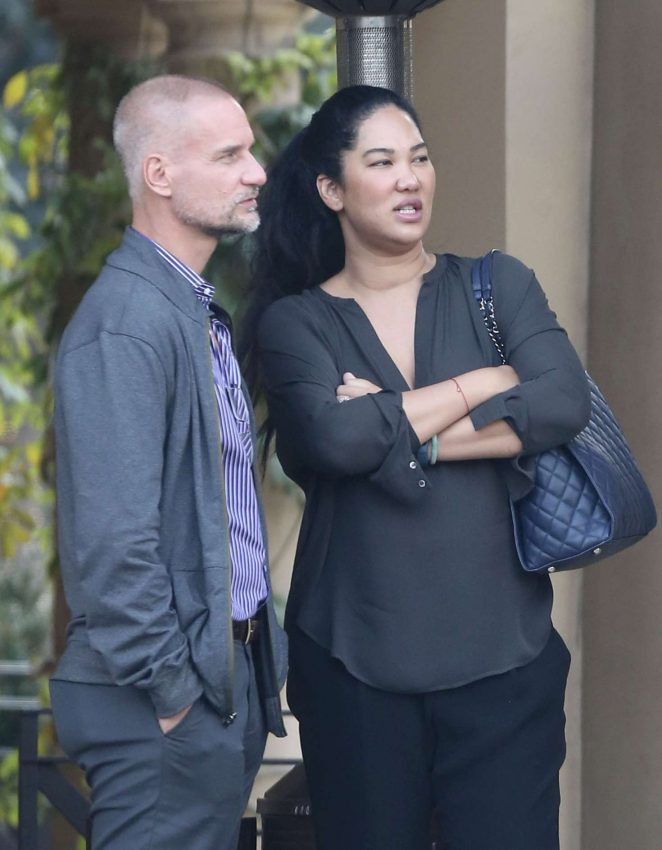 Kimora Lee Simmons with her husband at Bouchon in Beverly Hills