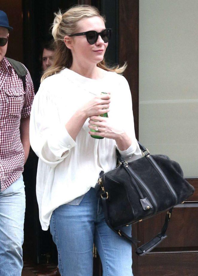 Kirsten Dunst in Jeans Leaving Her Hotel in New York