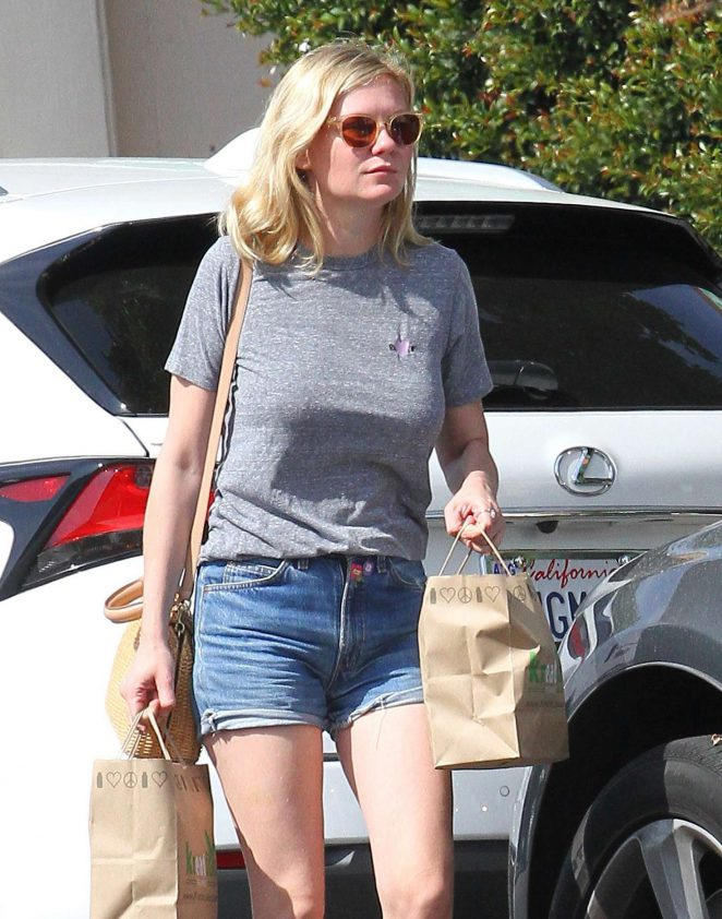 Kirsten Dunst in Jeans Shorts out in Los Angeles