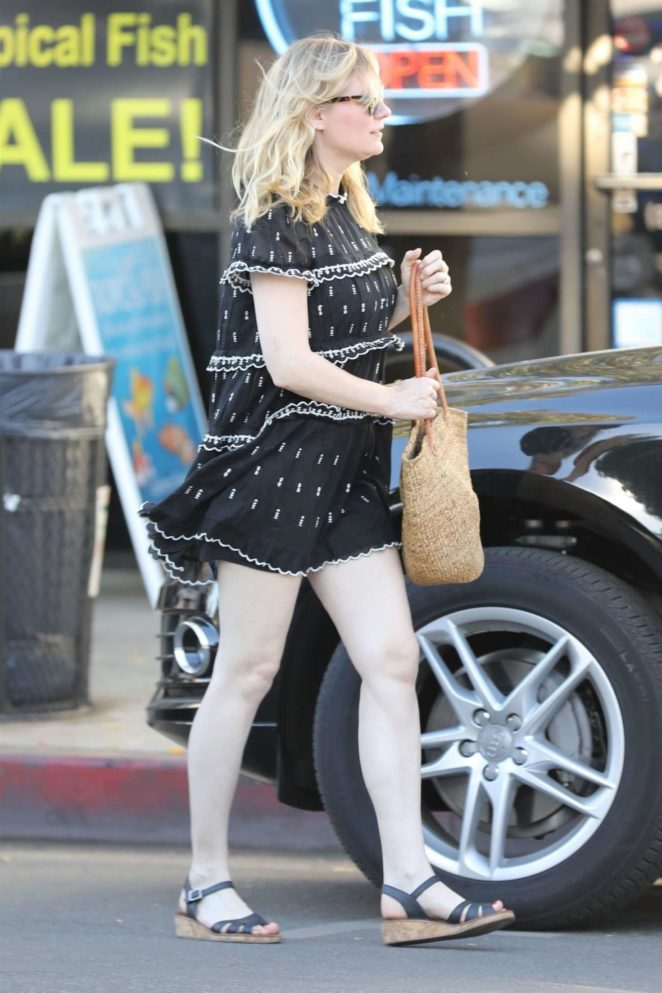 Kirsten Dunst in Short Dress at Alfred's in Los Angeles