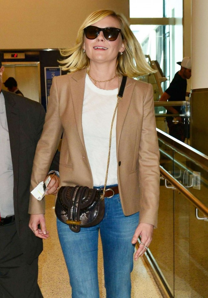 Kirsten Dunst in Jeans at LAX Airport in Los Angeles
