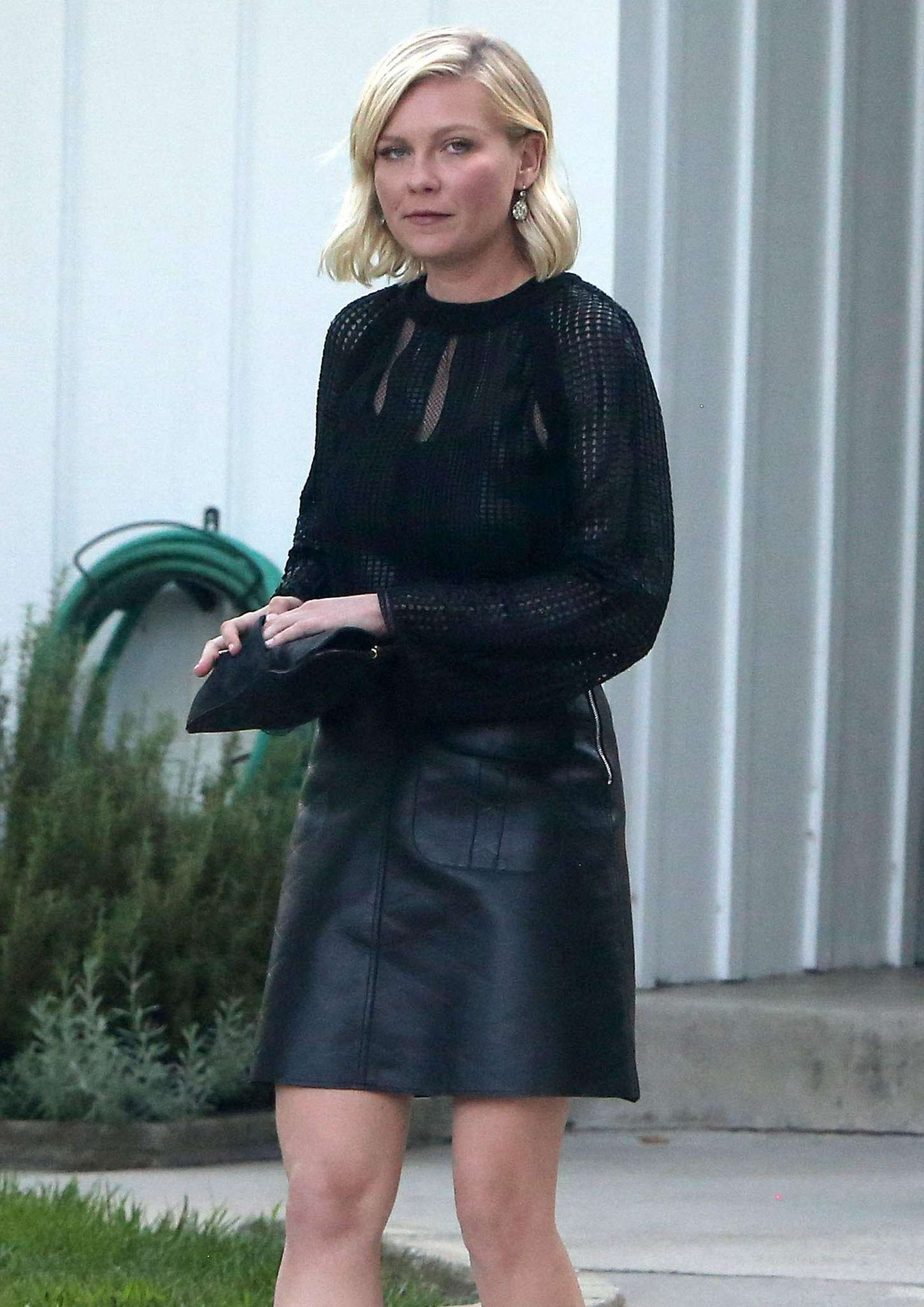 Kirsten Dunst in Leather Skirt out in Toluca Lake