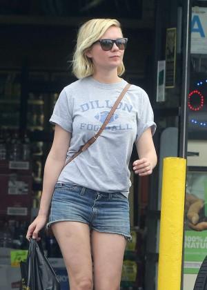 Kirsten Dunst in Jeans Shorts Shopping in LA