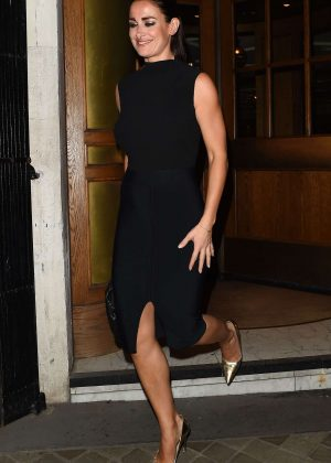 Kirsty Gallacher in Black Dress Out in London