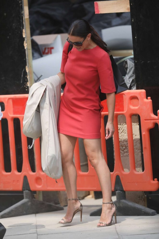 Kirsty Gallacher in Red Mini Dress - Out in London