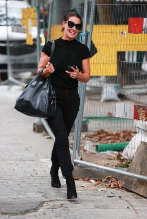 Kirsty Gallacher in skin tight jeans and boots at Global Radio in London