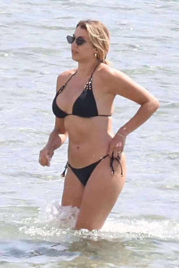 Konstantina Spyropoulou in Black Bikini at the beach in Athens