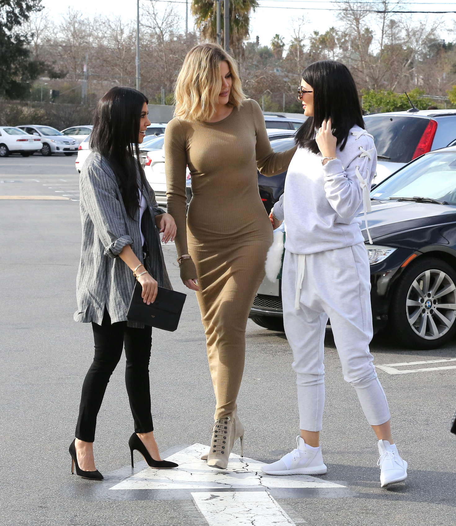 Kourtney and Khloe Kardashian and Kylie Jenner - Filming for 'Keeping Up with the Kardashians' in Calabasas