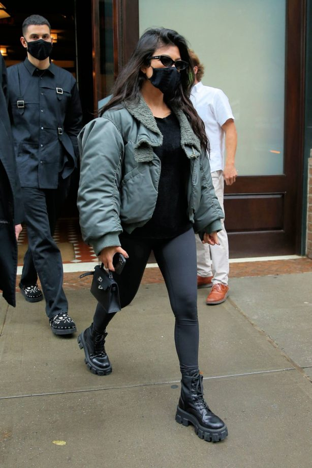 Kourtney Kardashian and Addison Rae - Leave the Greenwich Hotel in New York