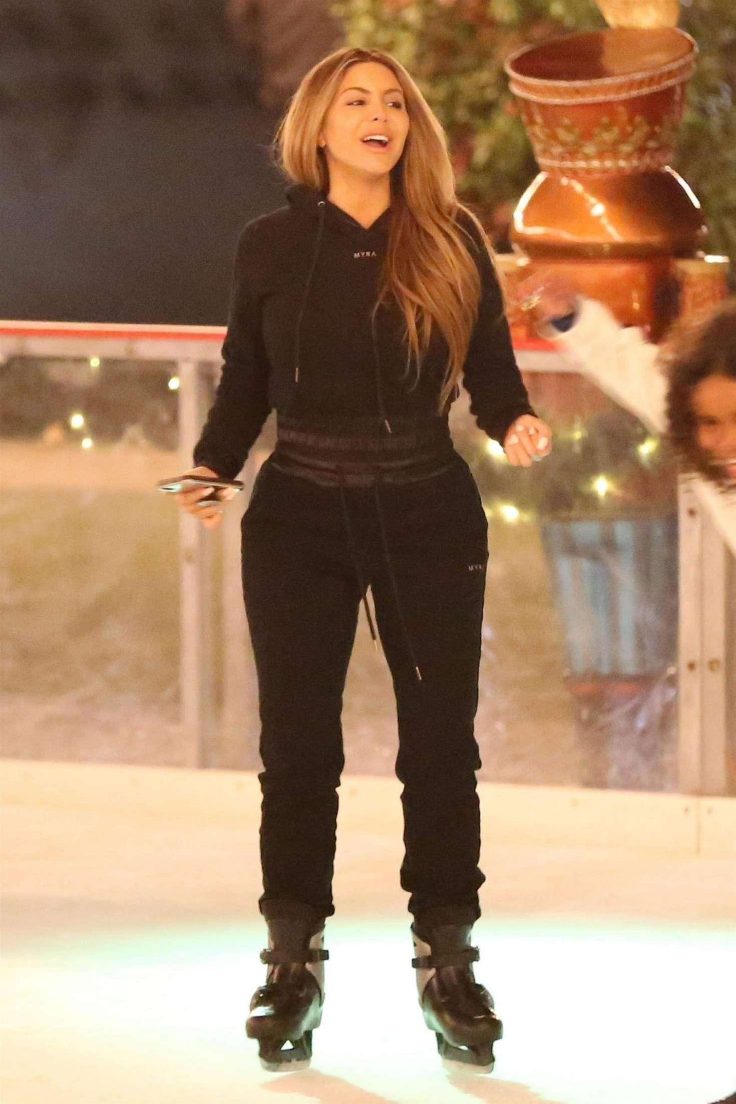 Kourtney Kardashian and Larsa Pippen – Ice skating in Los Angeles