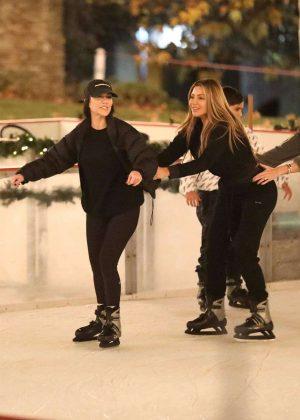 Kourtney Kardashian and Larsa Pippen - Ice skating in Los Angeles