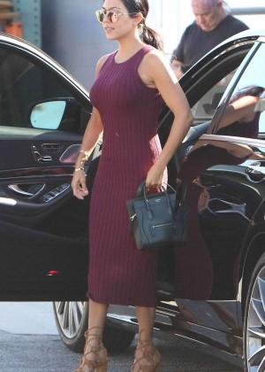 Kourtney Kardashian in Tight Dress Arrives at Studio in LA