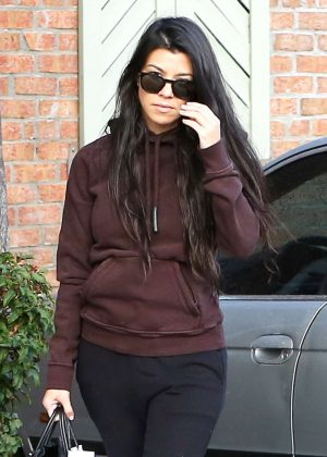 Kourtney Kardashian at Menchies on a rainy day in Calabasas