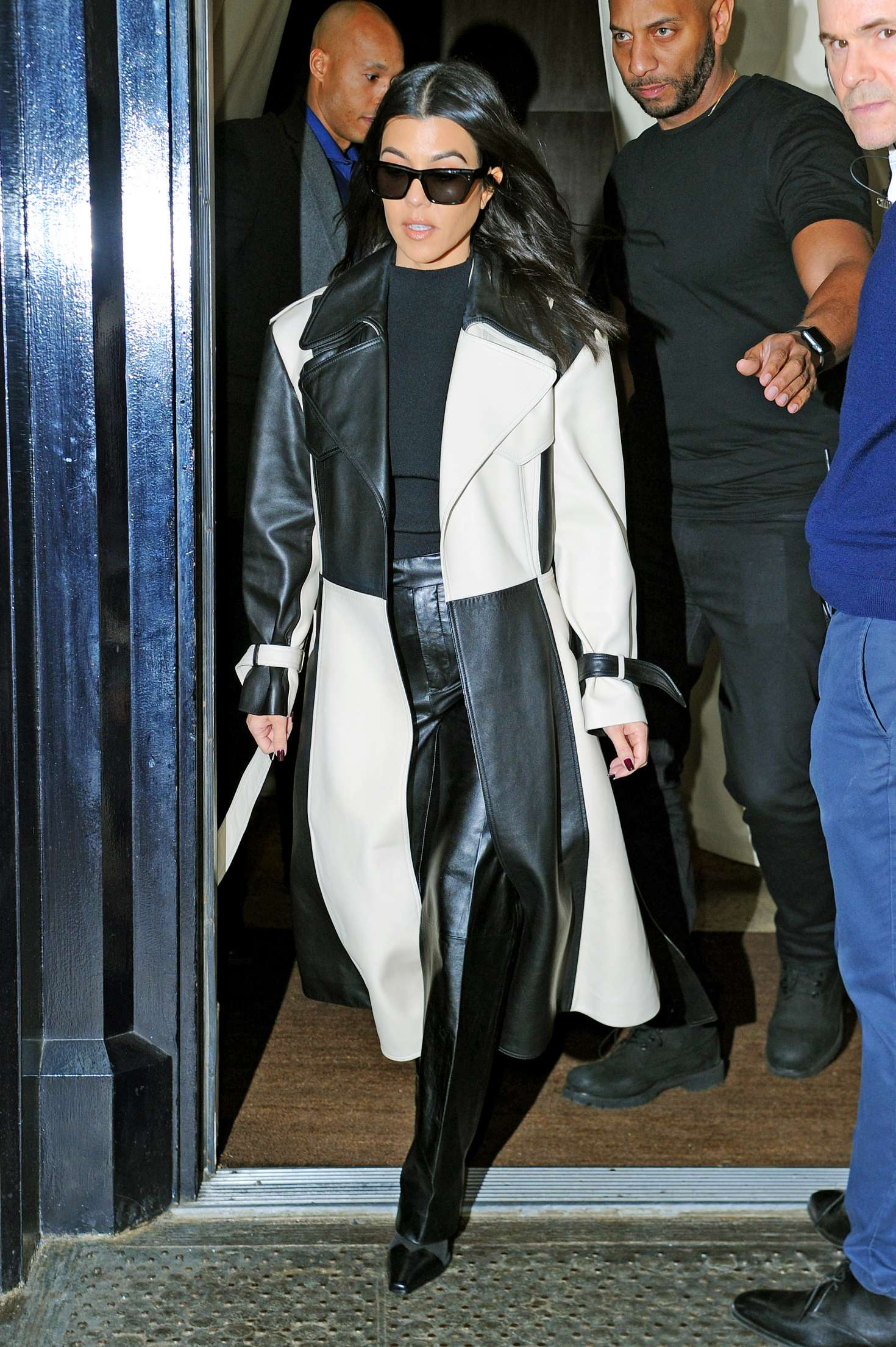 Kourtney Kardashian in Black and White Outfit - Out in New York