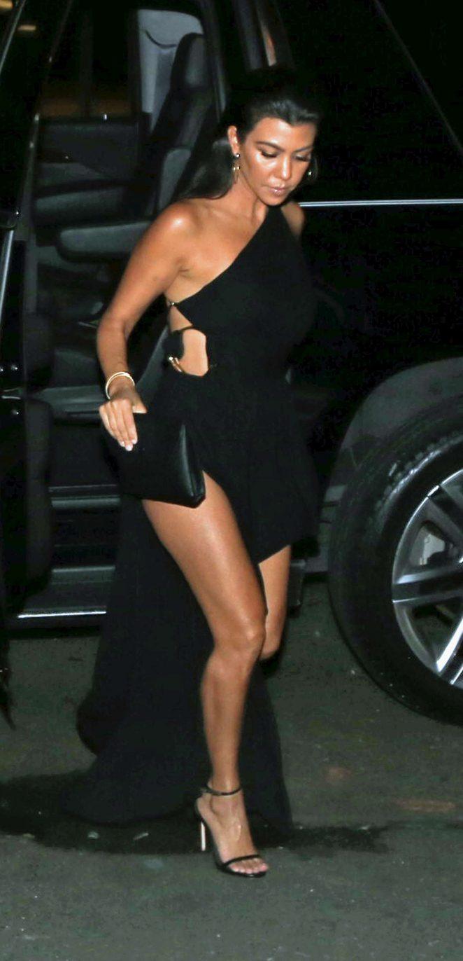 Kourtney Kardashian in Black Dress night out in NYC
