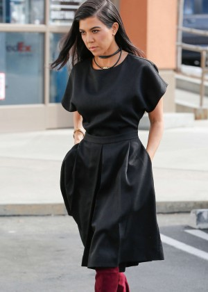 Kourtney Kardashian in Black Dress out in Calabasas