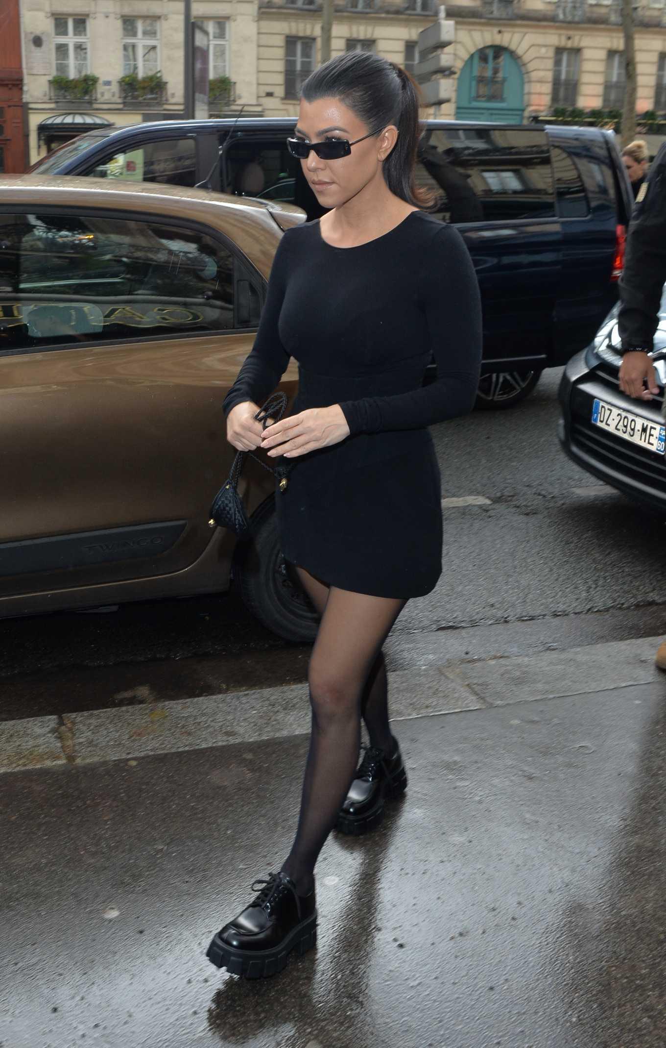 Kourtney Kardashian in Black Mini Dress - Out and about in Paris
