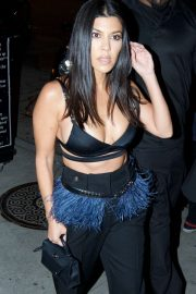 Kourtney Kardashian in Black Outfit - Arrives at Craig's in West Hollywood