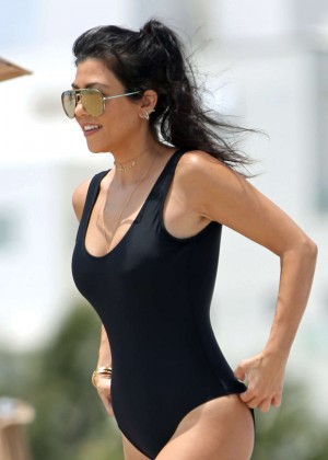 Kourtney Kardashian in Black Swimsuit on Miami Beach